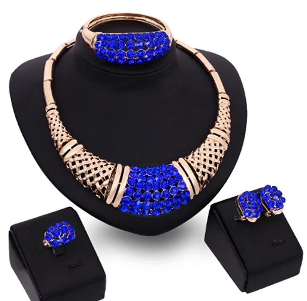 Jewelry Set New Trendy 18K Gold Plated 3 Colors Rhinestone AmaranTeen