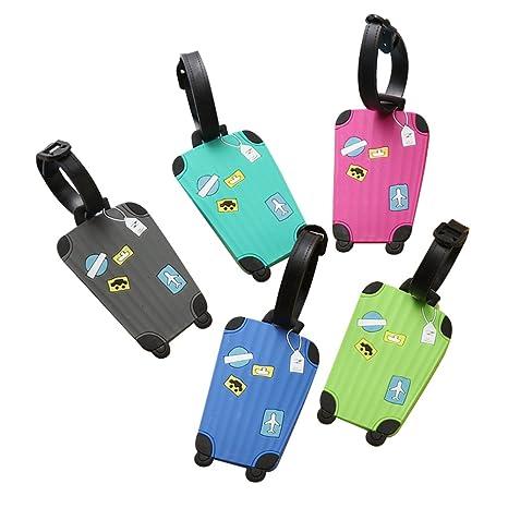 Spaufu Etiquetas de silicona para equipaje (paquete de 5 unidades), Colores aleatorios (