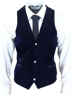 Mens Slim Fit Blue Black Purple Soft Velvet Waistcoat Formal Classic Smart