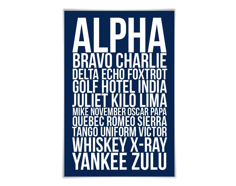 Amazon Com Alpha Bravo Charlie Art Print 60 Colours 6 Sizes Phonetic Alphabet Poster Aviation Nato Military Pilot Airplane Army Handmade