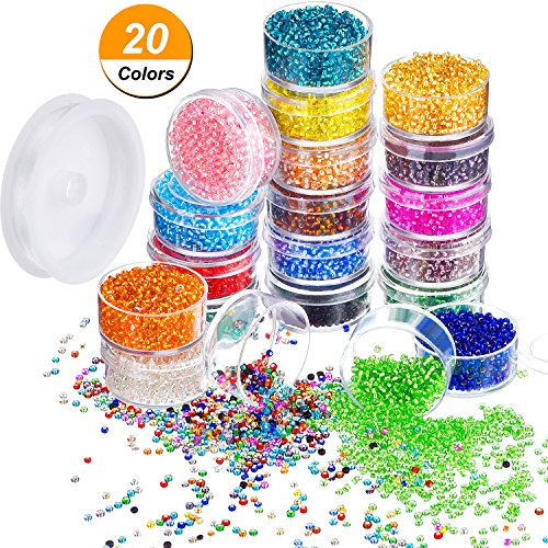 Bememo 16000 Pieces Glass Seed Beads 20 Colors 2 mm Silver Lined Pony Beads Tiny Spacer Beads in Container Box with 18 m Elastic Crystal String Cord - 18 Red Mini Roses