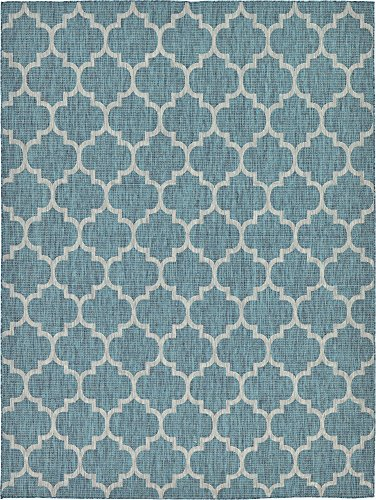 Unique Loom Outdoor Trellis Collection Casual Moroccan Lattice Transitional Indoor and Outdoor Flatweave Teal  Area Rug (9' 0 x 12' 0) (Area Rugs 9x12 Teal)