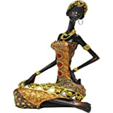 """African Figure Sculpture Tribal Lady Figurine Statue Decor Collectible Art Piece 9"""" Inches Tall"""