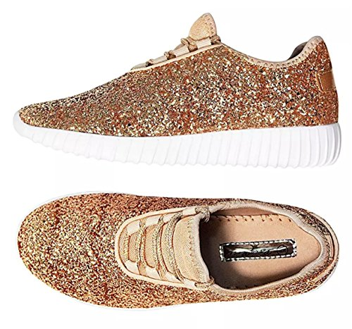 Gold Lace Sneaker SF Up Jogger Women's Forever Link Rose Quilted Lightweight Remy New Shoes 18 Glitter xSaZqw