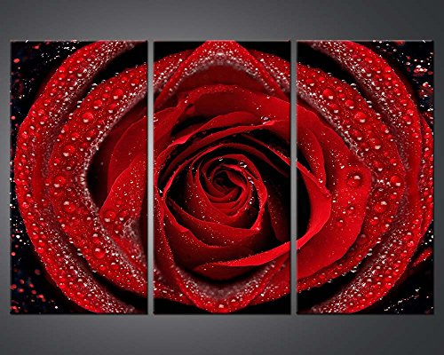 Modern Canvas Wall Art Pictures 3 Panels Framed Artwork Paintings For Living Room Bedroom Home Decor Big Red Rose Many Dew In Close-Up Flower Posters Painting Picture Prints Decorations