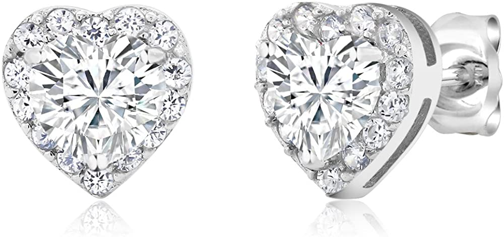 Gem Stone King 925 Sterling Silver Heart Shape Women's Halo Cubic Zirconia Earring (2.32 Cttw. 5MM Center Stone)