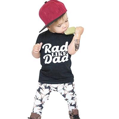 Rumas® Toddler Kids Baby Boy Clothes, Fashion Print Tops Shirt Pants Outfit Set