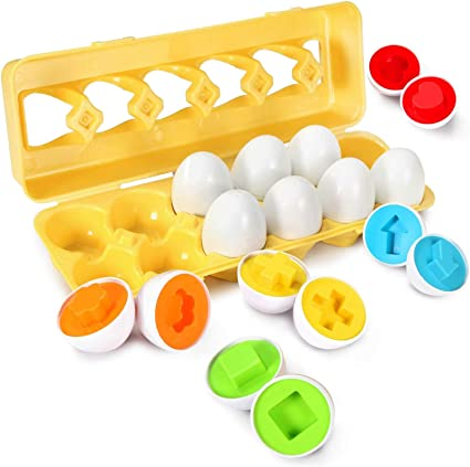 Isabelle /& Emilie 12 Pack Smart Eggs Toys Set 3D Puzzle Matching Game Color Shape Recoginition Sorter Educational Baby Toddler Toys Birthday for Kids 1 2 3 4 Years Old