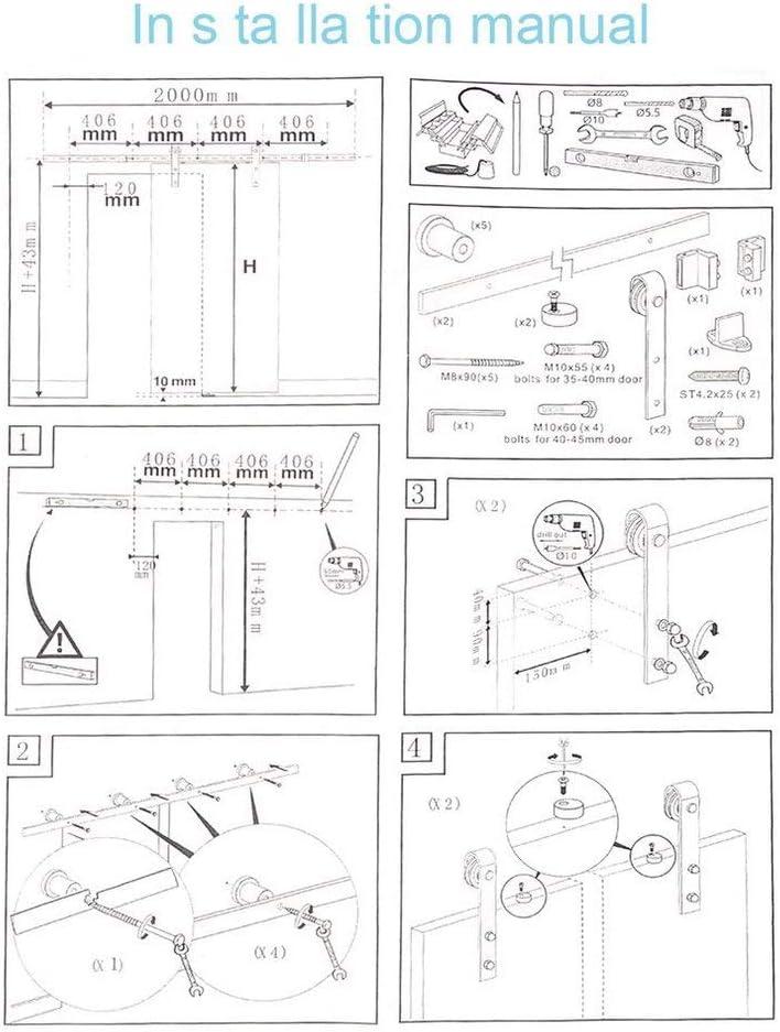 chengshiandebaihu Schiebet/ür Schiene Pfeilform Home Door Roller Holzt/ür Gleitschiene Klassische Baumaterialien Schiebet/ürbeschlag Set