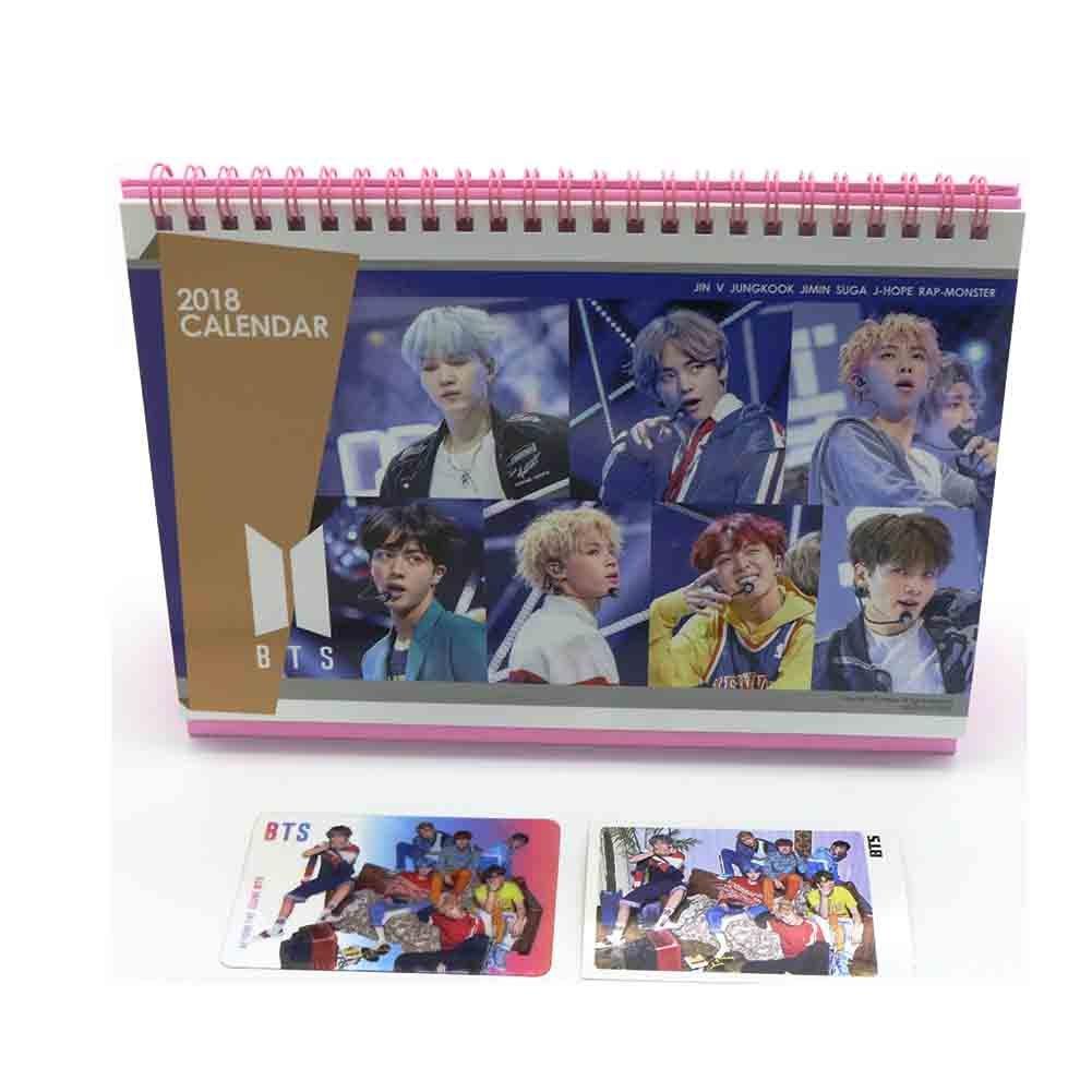 BTS bangtan Jungen 2018 Schreibtisch Kalender mit extra Foto Karten und Aufkleber … Idolgoods