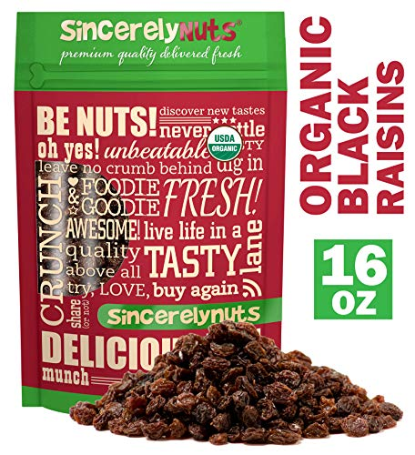 Sincerely Nuts Organic Black Raisins (1 LB) Dried Grapes-A Healthy Addition to Your Favorite Meals-Nutrient Rich Alternative Treat for the Whole Family- Vegan, Kosher & Gluten-Free Food