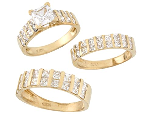 14 K Amarillo Oro Blanco Cz masculino y femenino Trio juego de anillos de boda