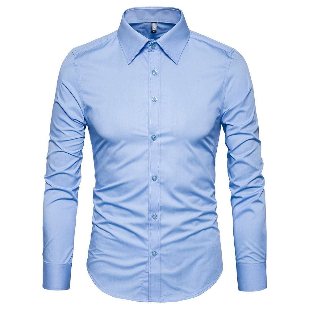 Manwan walk Men's Slim Fit Business Casual Cotton Long Sleeves Solid Button Down Dress Shirts (X-Large, Light Blue)