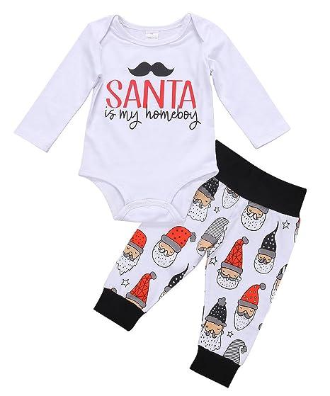 0e2e470a2 Pudcoco Baby Boys Girls Christmas Long Sleeve Romper Bodysuit Santa Claus  Pants Outfit (0-