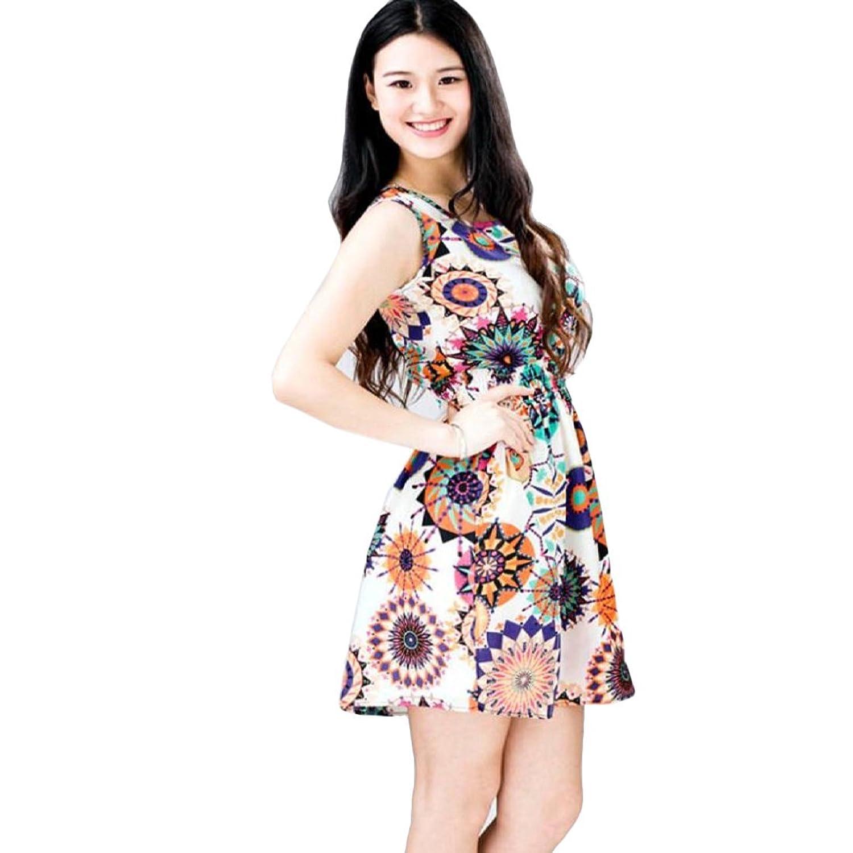 Frauen Kleid,Xinan 1PC Frauen-Sommer-Sleeveless Sonnenblume -Druck-Dame-Casual-Strand-Minikleid