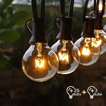 Lichterkette Außen Fochea Lichterkette Glühbirnen G40 9.5m 25er Globe Birnen Lichterkette Garten für Weihnachten Hochzeit Par