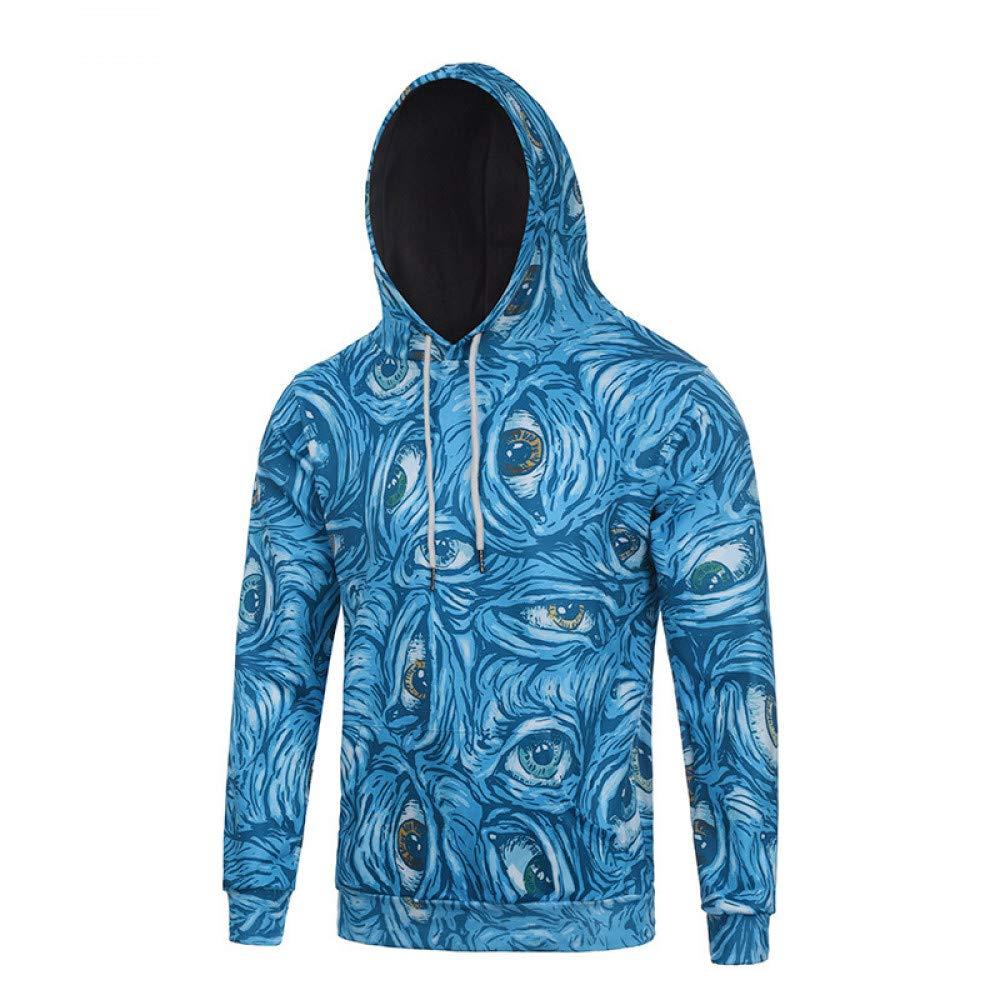 GMYANWY Herbst und Winter Digitale Marke der Marke Gezeiten Blaue Männer 3D mit Kapuze Kapuze Pullover