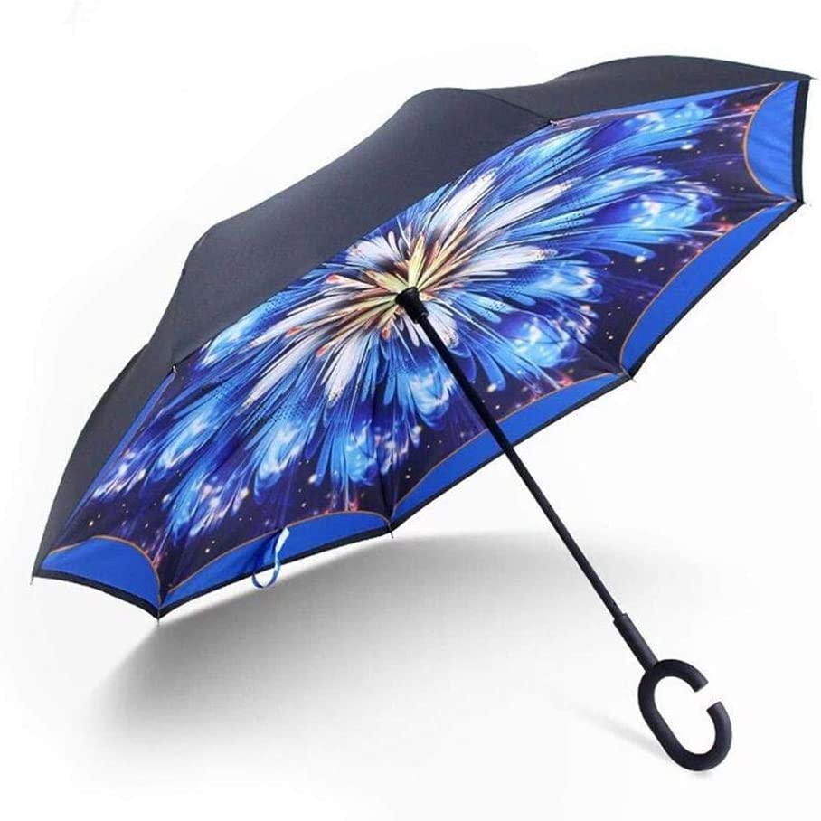 Laideyilan Inverted Double-Layer Reverse Umbrella Straight Rod Car Foldable Weatherproof Windproof Umbrella UV Protection Upside Down Umbrella with C-Shaped Handle