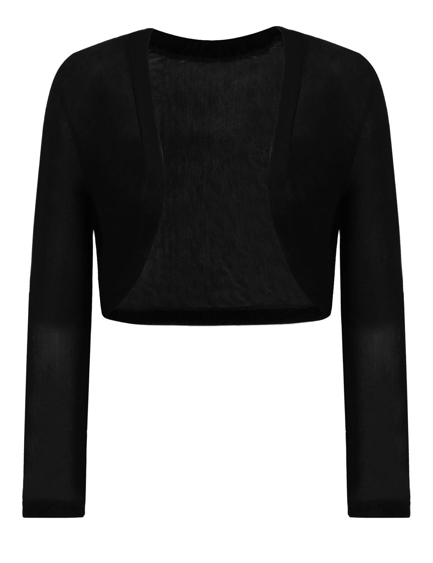 Grabsa Women's Casual Sheer Mesh 3/4 Sleeve Bolero Open Cardigan