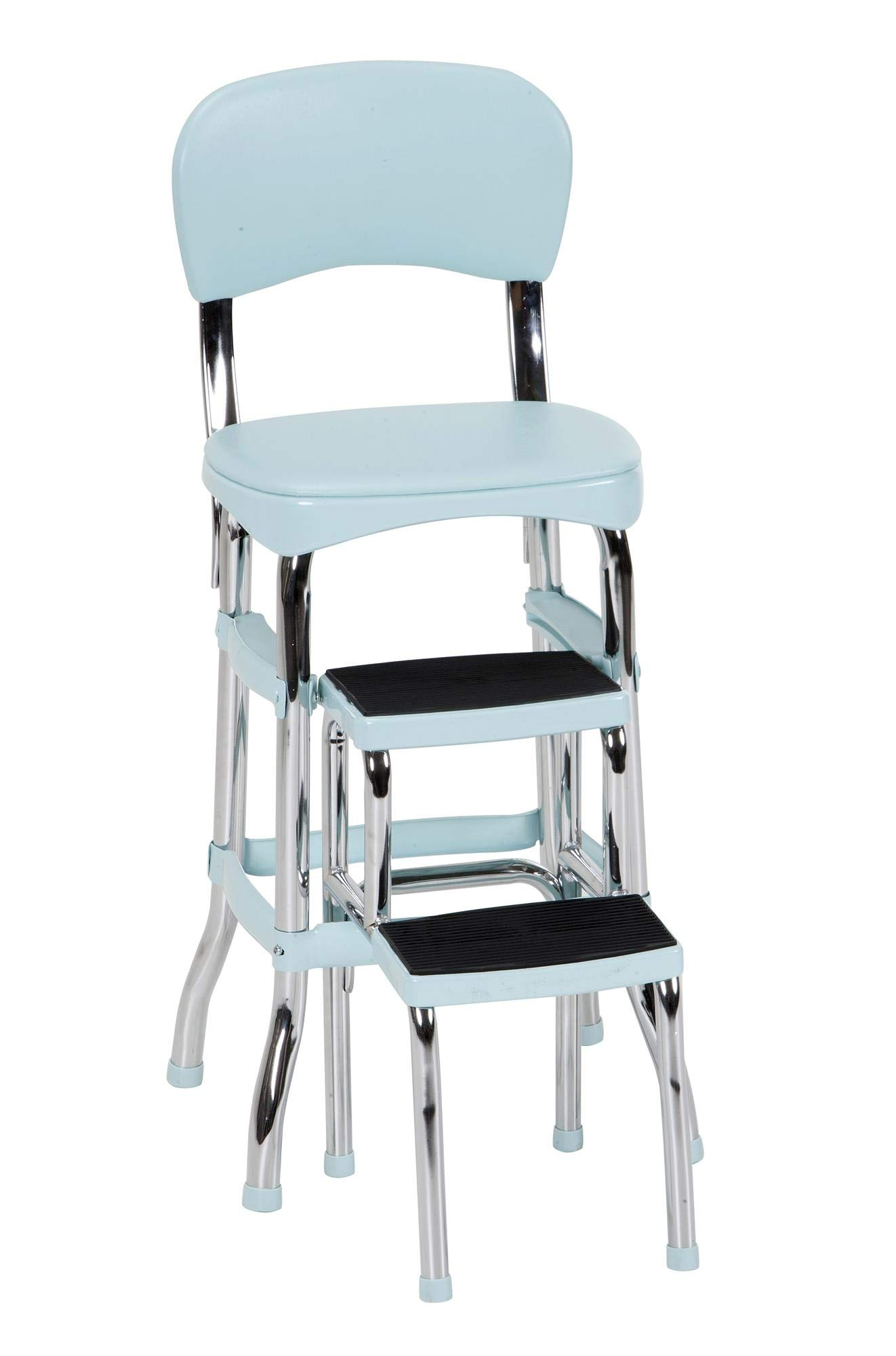 COSCO Stylaire Retro Chair + Step Stool with sliding steps (Teal, one pack) by Cosco