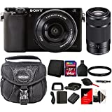 Sony Alpha A6000 24.3 Megapixal Built-in Wifi Mirrorless Digital Camera Black with 16-50mm and 55-210mm Power Zoom Lenses + 64GB Card and Accessories