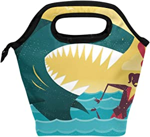 IMOBABY Businesswoman Dangerous Shark Attack Lunch Bag Tote Bag Insulated Lunchbox Handbag for Outdoor Travel Picnic School Office