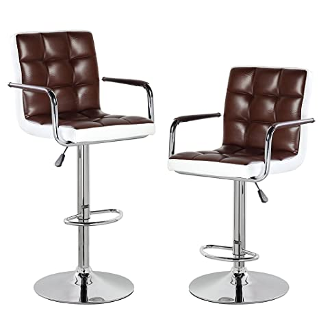 Peachy Modern Contemporary Leather Swivel Adjustable Height Bar Stools With Backs And Arms Set Of 2 Brown White Gmtry Best Dining Table And Chair Ideas Images Gmtryco