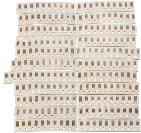 750Pcs 50 Values Resistor + 1150pcs SMD 1206 0ohm一10Mohm 400Pcs 40 Values Capacitor Kit Set 2.2pf一1uf
