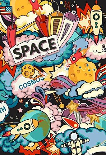 Yeele写真背景幕 – 写真背景 – 6 x 8ft Cartoon要素Outer Space Wars Alien Spaceship Backdrop Boy子供Kid Portrait画像バナーパーティー写真ブースShooting Studio小道具   B07F68WGXQ