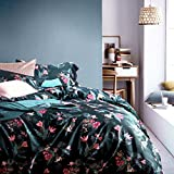 VEAMOR Floral Duvet Cover Set Queen With Zipper Closure Egyptian 100% Cotton Flowers Pattern King Bedding Set Green Twin Quilt Cover