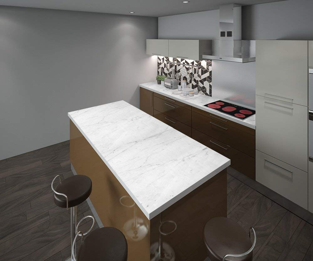 Instant Granite Italian White Marble Counter Top Film 36 x 36 Self Adhesive Vinyl Laminate Counter Top Contact Paper Faux Peel and Stick Self Application