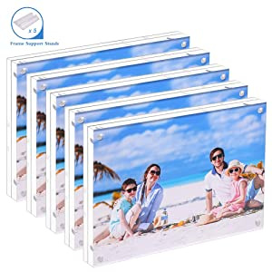5 Pack Acrylic Picture Frame 5x7 Clear Double Sided Magnetic Picture Frameless Desktop Display with Photo Frame Support Stand Best Gift for Family, Baby, Document Photo Frames- Free Soft Microfiber
