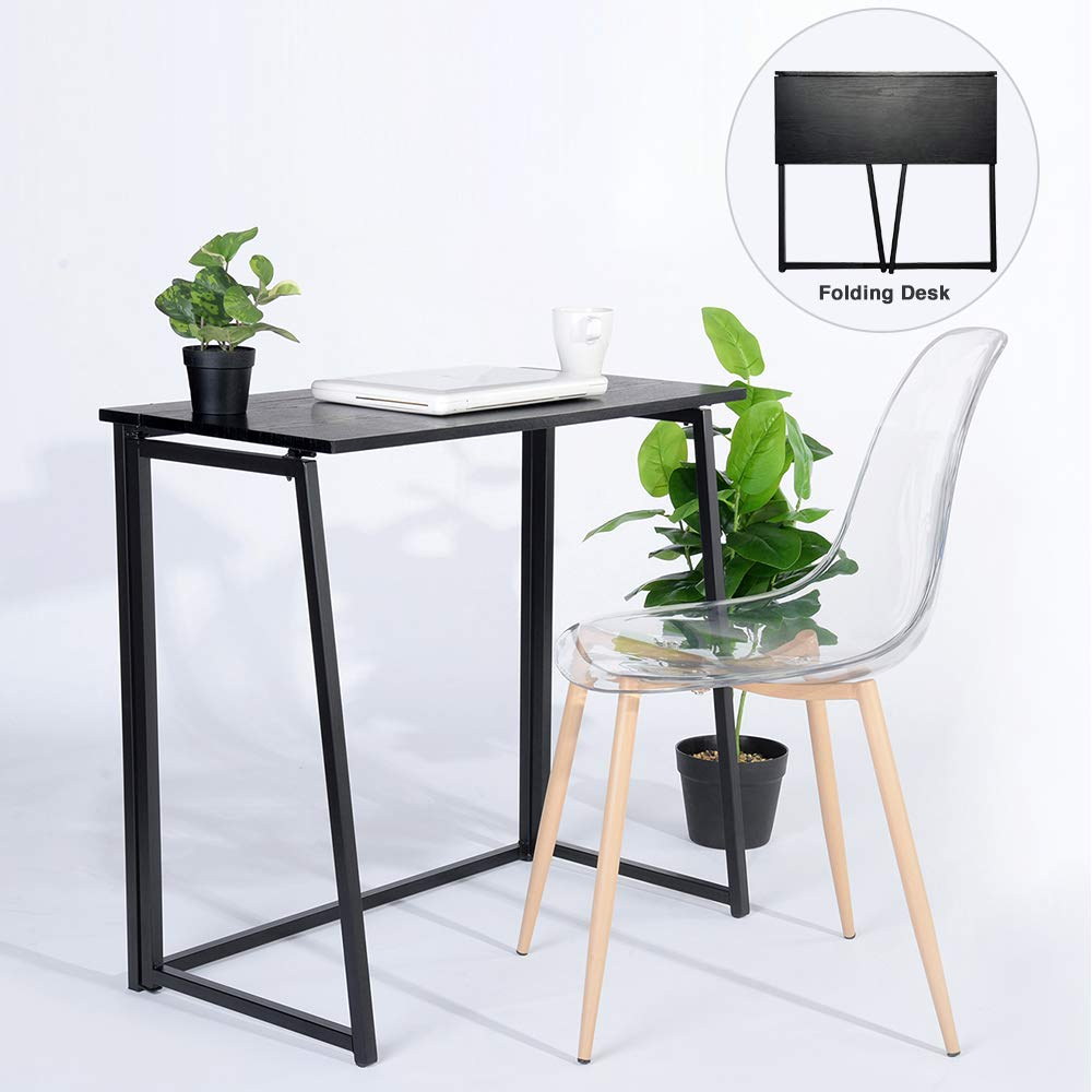 GreenForest Folding Desk for Small Places Home Office, Computer Table Writing Desk Small Office Desk, Black