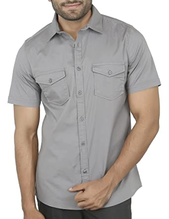 52bdabc074 Aady Jones Grey Double Pocket Cotton Slim Fit Solid Men's Half Sleeves  Casual Shirt: Amazon.in: Clothing & Accessories