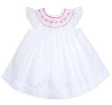 3ac526b921 Amazon.com  Carouselwear Baby Girls White and Pink Smocked Portrait Bishop  Dress  Clothing