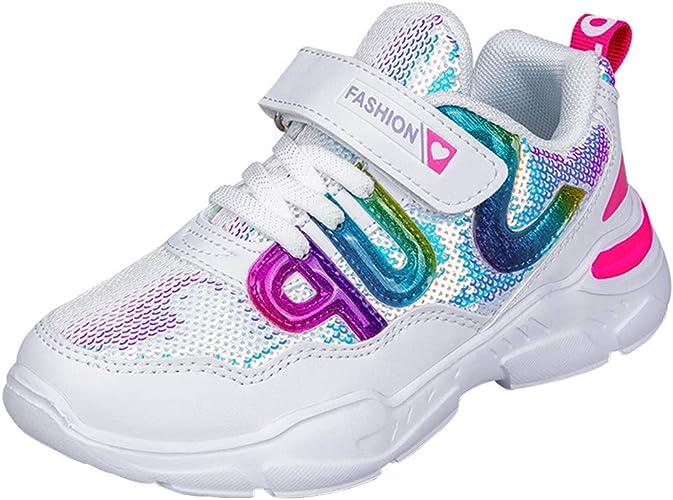 HSNA Zapatillas con Lentejuelas Ni/ña Zapatos de Gimnasia para Caminar Ligero Trainers Kids