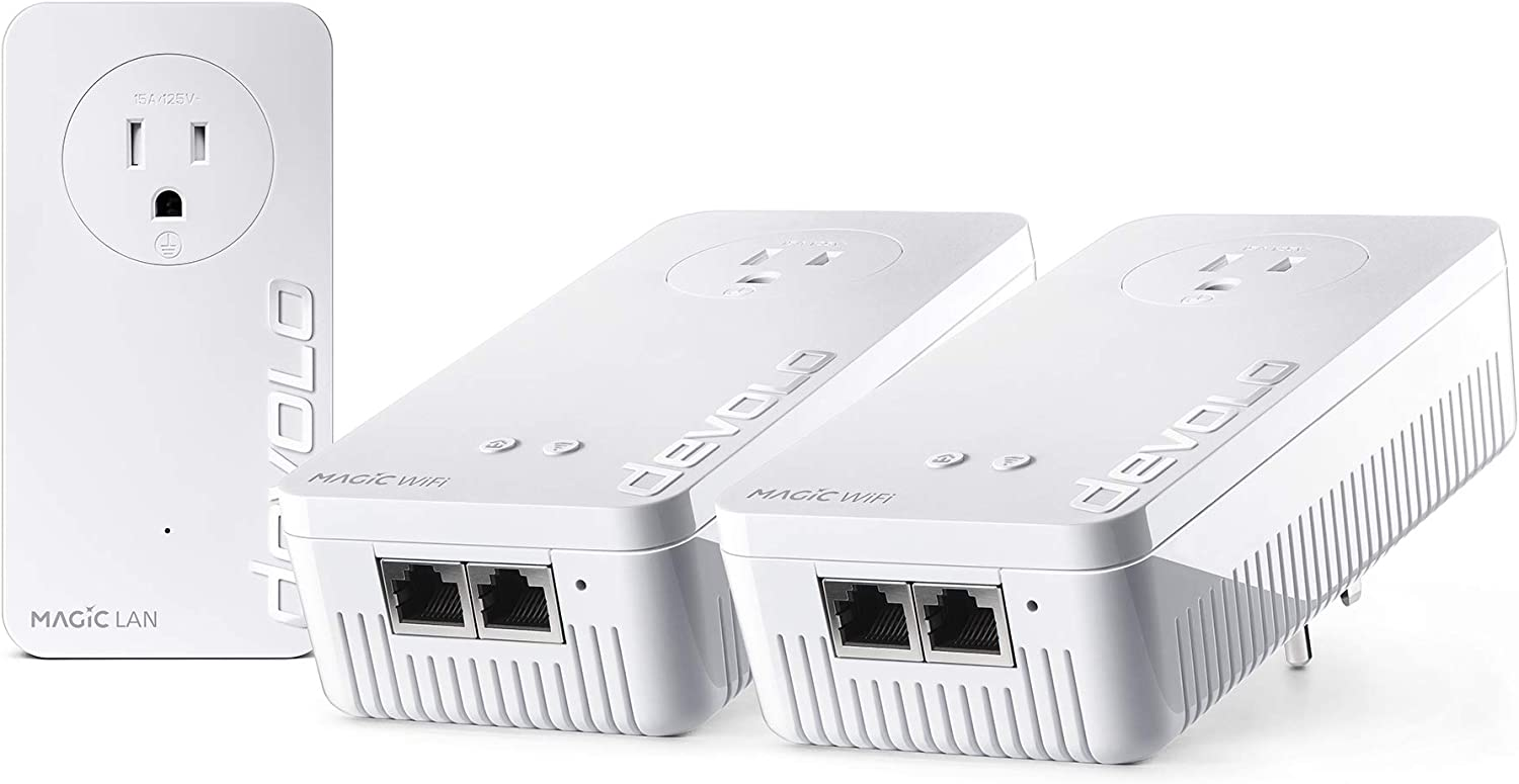 Devolo Magic 2 WiFi Next - Whole Home Powerline Wi-Fi Kit: Perfect for Bringing Mesh Wi-Fi to Other Floors (3 adapters with a Total of 5X Gb LAN Ports, G.hn, Multi-User MIMO), 2000 Mbit/s
