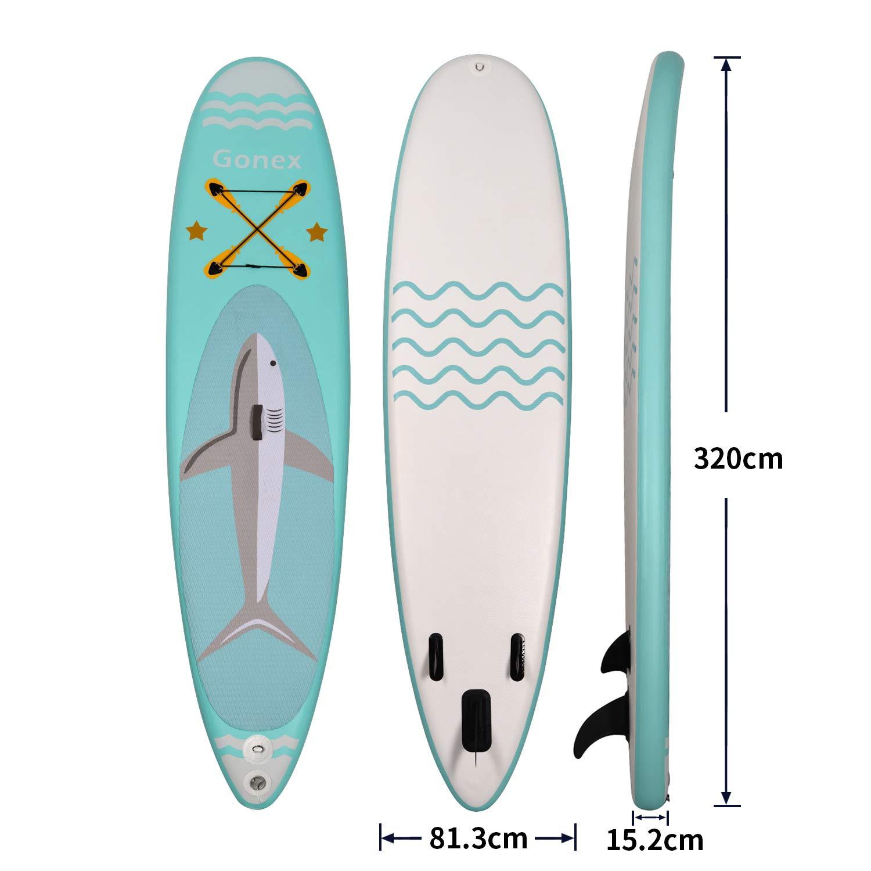 Stand up Paddling Board Aufblasbar 6 Zoll dick mit Zubeh/ör und Rucksack Gonex SUP Board Set Pilates Yoga f/ür Wassersportarten Surfen