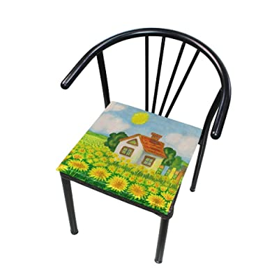 "Bardic HNTGHX Outdoor/Indoor Chair Cushion Watercolor Sunflower House Square Memory Foam Seat Pads Cushion for Patio Dining, 16"" x 16"": Home & Kitchen"