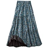 CATALOG CLASSICS Women's Reversible Broomstick Skirt - Blue Lagoon Paisley Print Reverse to Black - 1X