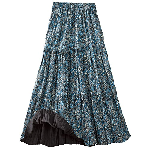Women's Reversible Broomstick Skirt - Blue Lagoon Paisley Print Reverse to Black - 3X