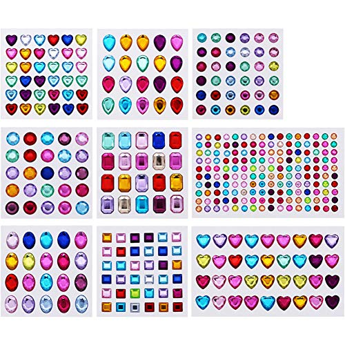 MAMUNU 9 Sheets Self-Adhesive Rhinestone Stickers Multicolor Flatback Craft Jewels Crystal Gem Stickers for DIY Crafts Decoration Face Nails