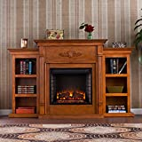 Electric Fireplace with Open Bookcase , Glazed Pine For Sale