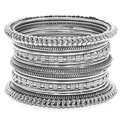 - Aheli Indian Traditional Antique Oxidized Bohemian Bangles Set Womens Ethnic Party Wear Jewelry (Silver)