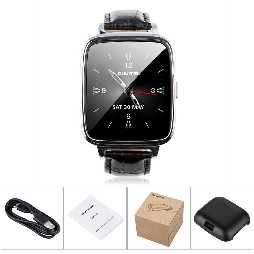 Oukitel A28 - Smartwatch Reloj (IP53 Impermeable, Bluetooth V4.0, Ritmo Cardíaco, Anti-pérdida, Podómetro) Compatible con Móvil Android iOS (Plateado)