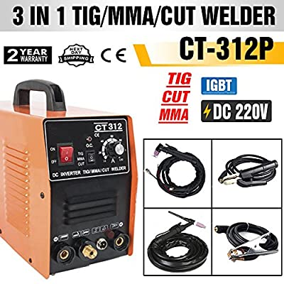 TOSENBA CT312P Plasma Cutter Pilot ARC Tig MMA/Stick Welder Non-Touch 3 in 1 Combo Welding Machine, 30Amp Air Plasma Cutter, 120A TIG/Stick Welder, Dual Voltage 220V/110V DC Inverter
