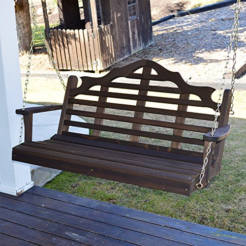 Dress the Yard Marlboro Amish-Crafted Western Red Cedar Porch Swing (4 Foot, Walnut (Western Red Cedar Swing)