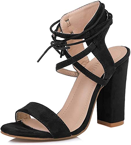 Womens Mid Heel Chunky Bock Sandal Buckle Suede Casual Open Toe Shoes All US Sz