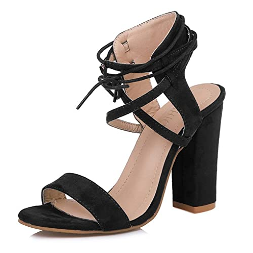c2b618de9a72a ThusFar Women's Suede Open Toe Pumps Chunky Block Heeled Sandals Ankle  Strap High Heels