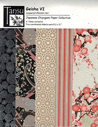 Japanese Chiyogami Papers - Geisha VI - Lacquered Obsidian Hair ()